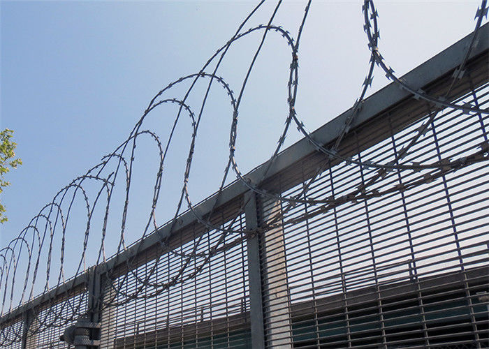 Standard Barb Wire Strip Flat Wrap Razor Wire / Razor Sharp Wire Barrier Fencing